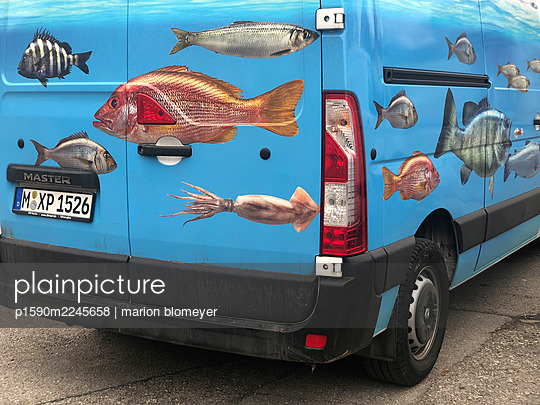 Fish motives on a van - p1590m2245658 by marion blomeyer