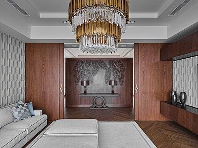 Wohnzimmer einer Villa - p390m2263702 von Frank Herfort