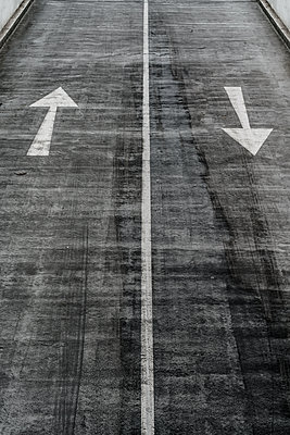 Arrow road markings - p1280m2145270 by Dave Wall