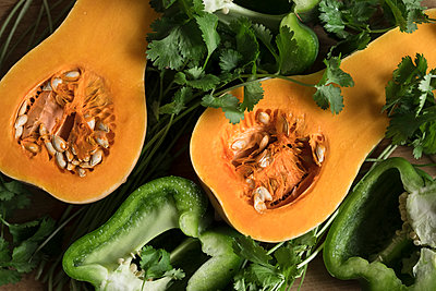 Butternut Squash and Bell Peppers - p1262m1200660 by Maryanne Gobble