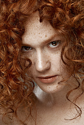 Emotional sensitive portrait of a red-haired girl - p1561m2133220 by Andrey Cherlat