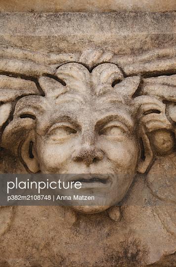 Stone face in Aphrodisias - p382m2108748 by Anna Matzen