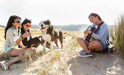Three happy women with dog and guitar on the beach - p300m2114777 by Marco Govel