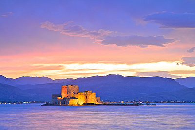 Bourtzi Castle at Dusk, Nafplio, Argolis, The Peloponnese, Greece, Southern Europe - p651m2032902 by Neil Farrin photography