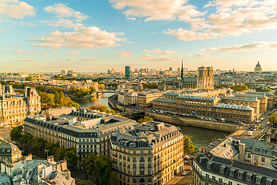 View of Paris and Notre-Dame Cathedral from the top of Saint-Jacques Tower - p1332m1502778 by Tamboly