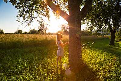 Young girl standing at tree against evening sun in summer - p300m2012841 von Larissa Veronesi