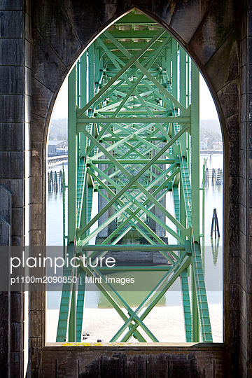 Bridge Crossing the Rogue River, Highway 101, Oregon - p1100m2090850 by Mint Images