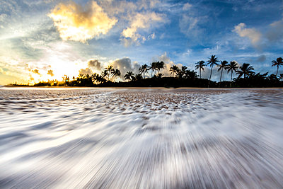 Time lapse of wave rushing down beach - p343m1475702 by Sean Davey