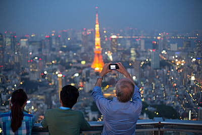 Tokyo Tower at night - p445m911829 by Marie Docher