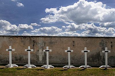 Row of white crosses of world war one graves. - p1072m829449 by Neville Mountford-Hoare