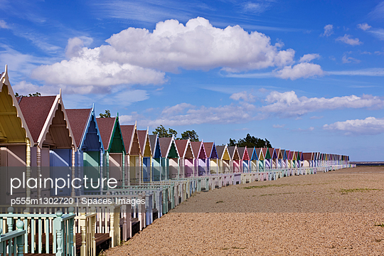 Row of Colorful Beach Homes - p555m1302720 by Spaces Images