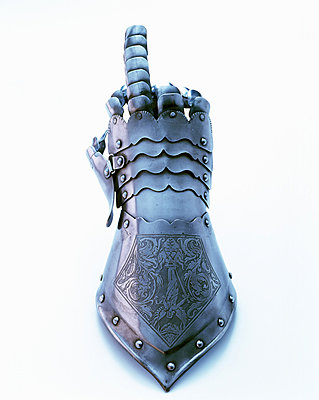 Knight's Hand making obscene gesture - p1053m816444f by Joern Rynio