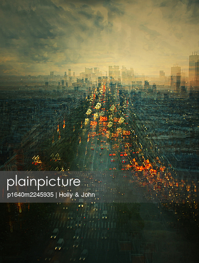Rush hour, Paris, aerial view, multiple exposure - p1640m2245935 by Holly & John