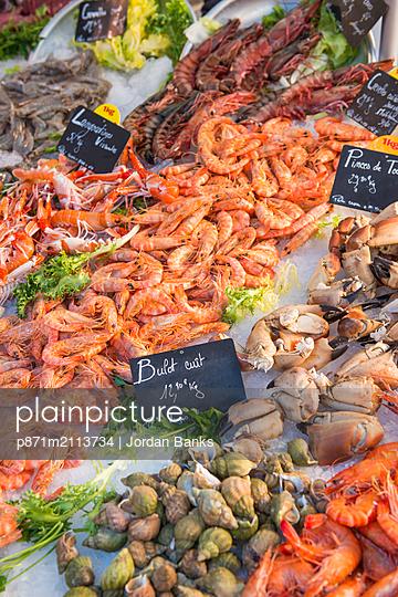 Fresh seafood, Aix en Provence, Bouches du Rhone, Provence, Provence-Alpes-Cote d'Azur, France, Europe - p871m2113734 by Jordan Banks