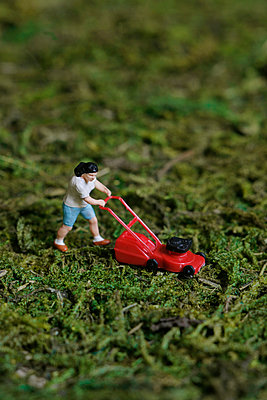 Miniature lawn mowing - p1028m912280 by Jean Marmeisse