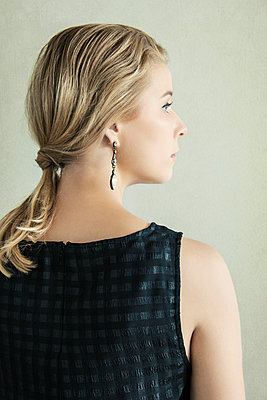 Blonde Woman with Long Earring - p1331m1182373 by Margie Hurwich