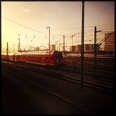 Train in the main station, Munich, Bavaria, Germany - p300m1009951 by Gerald Staufer