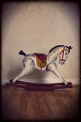 1940s rocking wooden horse - p1028m972617 by Jean Marmeisse