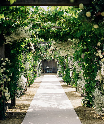 A garden path through an arch leading to an alcove with table and chairs, with climbing plants and white roses.  - p1100m1080168f by Mint Images