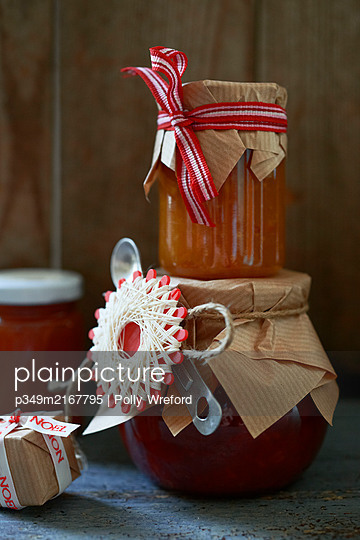 Personalised jam, gifted with spoon - p349m2167795 by Polly Wreford