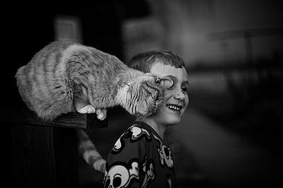 Boy with Cat - p1169m955995 by Tytia Habing