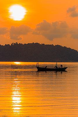 Fishing boat at dawn off the east coast of this holiday island, Saracen Bay, Koh Rong Sanloem Island, Sihanoukville, Cambodia, Indochina, Southeast Asia - p871m2111477 by Robert Francis
