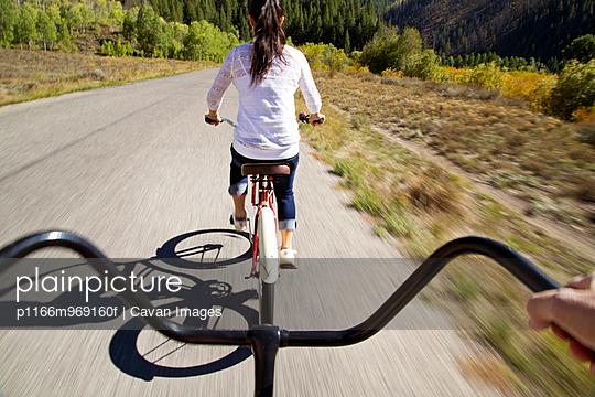 Couple Riding Bikes in Sun Valley, Idaho