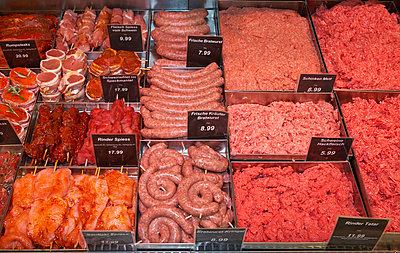 Meat in display in supermarket - p3007169f by Tom Hoenig