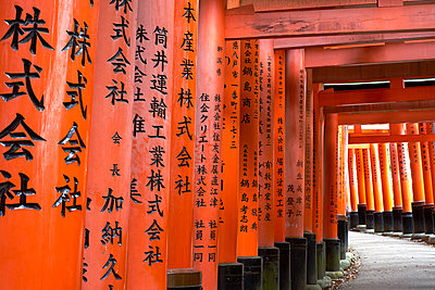 Prayers written in Japanese on the red wooden Torii Gates at Fushimi Inari Shrine, Kyoto, Japan, Asia - p871m2023425 by Simon Montgomery