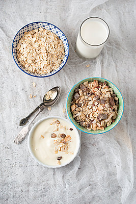 Bowls of granola, oat flakes and natural yoghurt and a glass of milk - p300m2042836 by Mandy Reschke