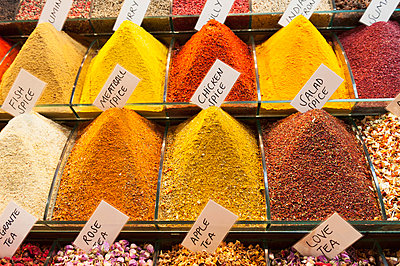 Spices Teas And Other Dried Goods In Bins For Sale; Istanbul Turkey - p442m784318 by Keith Levit