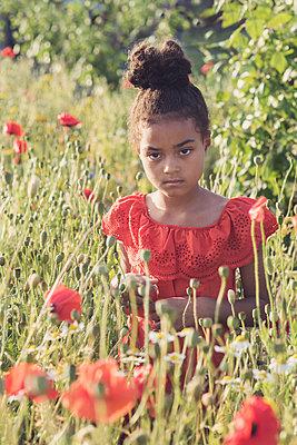 Girl in a wild flower field  - p1323m2100510 von Sarah Toure