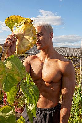 Bodybuilder in einem Dachgarten - p817m2027560 von Daniel K Schweitzer