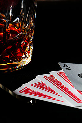 Playing Cards and Liquor - p967m916157 by Wessel Wessels