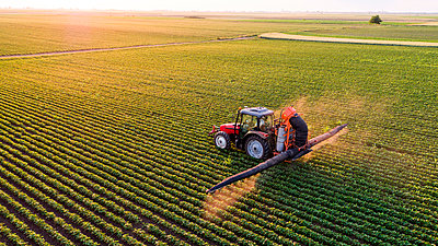 Serbia, Vojvodina, Aerial view of a tractor spraying soybean crops - p300m2070635 by oticki