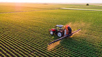 Serbia, Vojvodina, Aerial view of a tractor spraying soybean crops - p300m2070635 von oticki