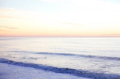 California Beach at Sunset - p1106m1592106 by Angela DeCenzo