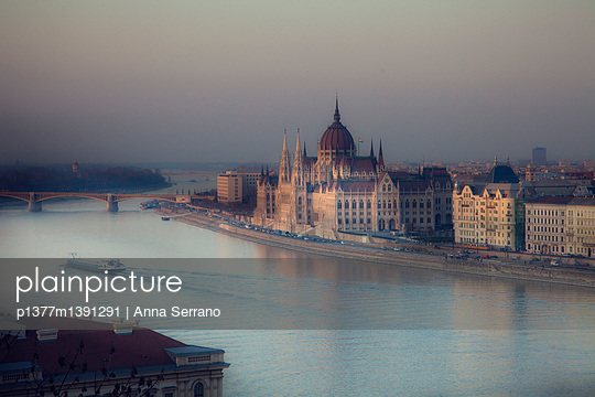 Parliament Building by Danube River - p1377m1391291 by Anna Serrano