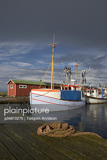 Fishing boats moored at a pier, Oland, Sweden