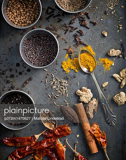 Spices on grey background - p312m1470627 by Matilda Lindeblad