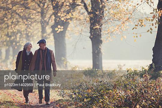 Senior couple holding hands walking in sunny autumn park - p1023m1402959 by Paul Bradbury