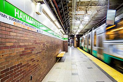 The Subway Train At Haymarket Station In Downtown Boston, Massachusetts - p343m1443461 by Matt Stirn