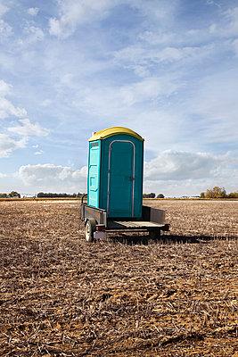 Portable toilet on a trailer; alberta canada - p442m839633 by Benjamin Rondel