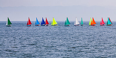 Switzerland, Thurgau, Arbon, Lake Constance, regatta, panoramic view of colorful sailing boats - p300m1581674 by Werner Dieterich
