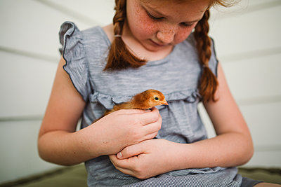 Rothaariges Mädchen kümmert sich um ein Küken  - p1361m1461368 von Suzanne Gipson