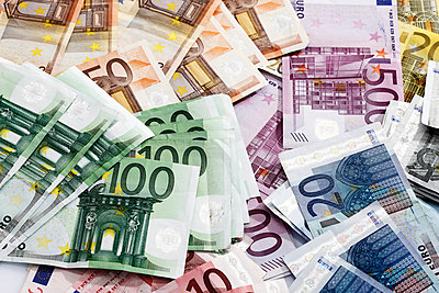 Various Euro bank notes - p3007986f by Dieter Heinemann