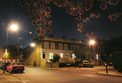 Street corner at night with pink cherry blossom in foreground, Greenwich, London  - p1072m829266 by Neville Mountford-Hoare