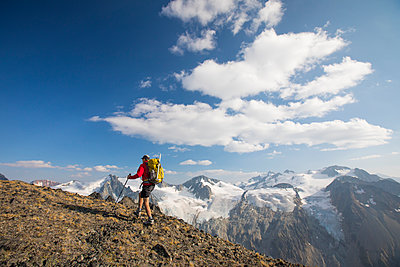 Backpacking above Athelney Pass, British Columbia, Canada - p1166m2153402 by Cavan Images