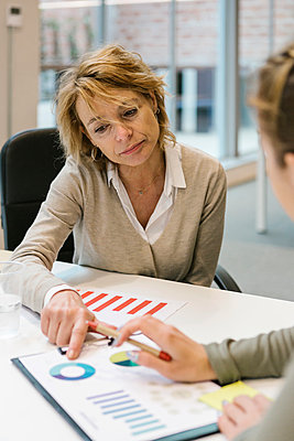 Mature businesswoman explaining graph to female coworker at desk in coworking office - p300m2282946 by Xavier Lorenzo