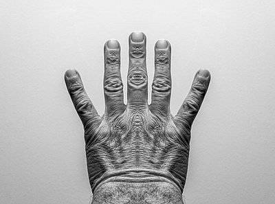 Symmetrical male hand with five fingers, no thumb. From art project Symmetry - p1433m2150479 by Wolf Kettler